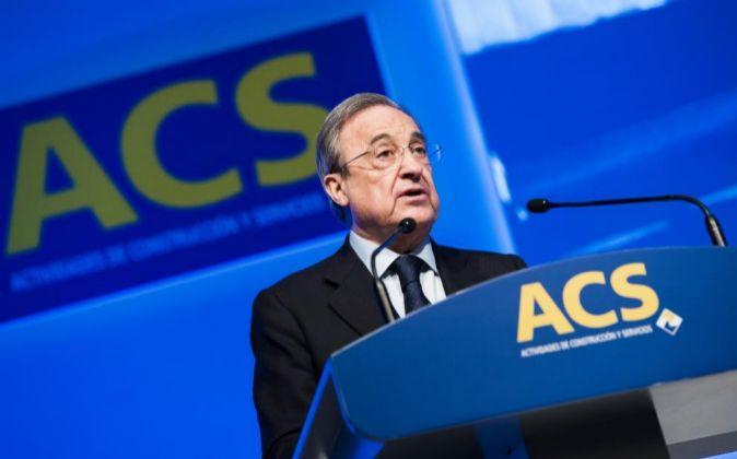 Florentino Pérez, presidente de ACS, durante la última junta general...