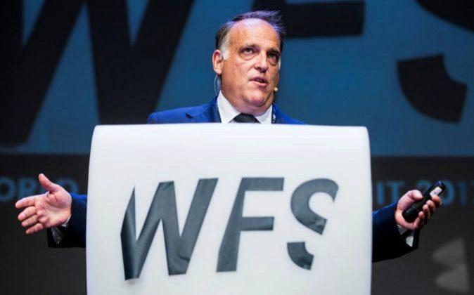 El presidente de LaLiga, Javier Tebas, durante su intervención en el...