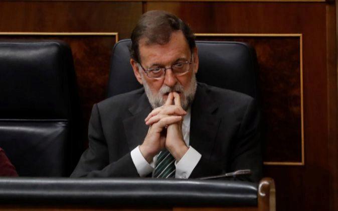 El presidente del Gobierno, Mariano Rajoy, durante la sesión de...