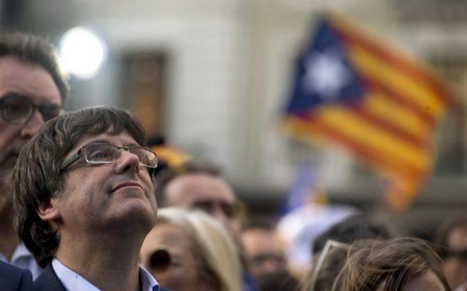 El presidente de la Generalitat, Carles Puigdemont , durante la...