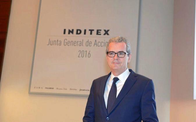 Pablo Isla, presidente de Inditex, en la última junta de accionistas...