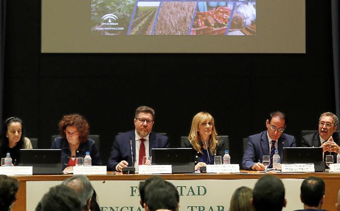 Representantes de la Junta de Andalucía, CCOO-A y UGT-A, ayer, en la...