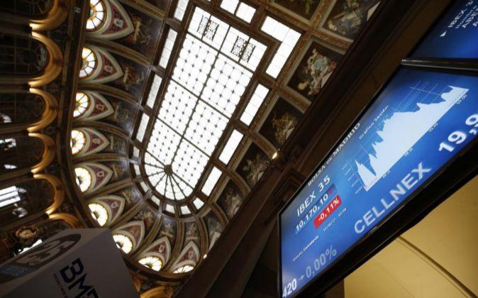 Vista del parqué de la Bolsa de Madrid.