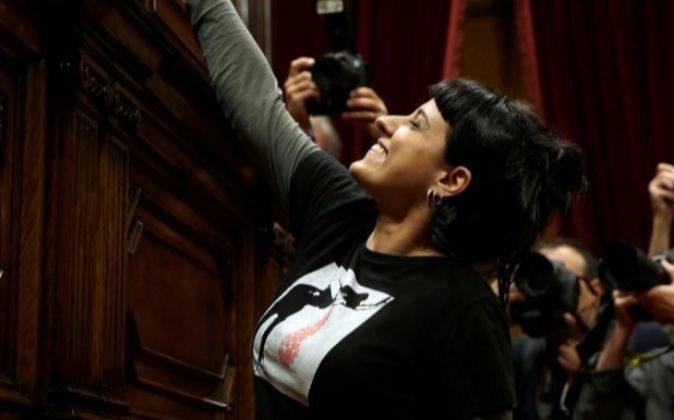 GRALa diputada de la CUP, Anna Gabriel, durante la votación del...