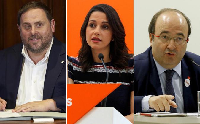 Oriol Junqueras, Inés Arrimadas y Miquel Iceta.