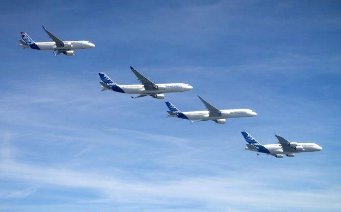 Aviones de Airbus A320, A330, A350-500 y A380 de la compañía  L-R.