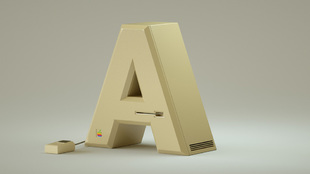 'A' de Apple, en homenaje al ordenador Macintosh.