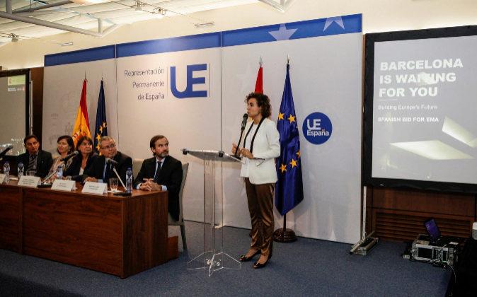 La ministra de Sanidad, Dolors Montserrat, durante la presentación...