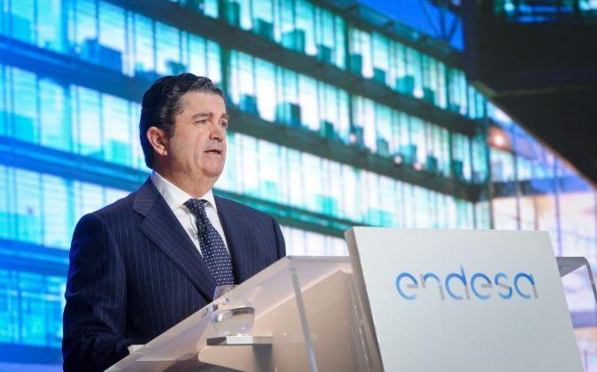 Borja Prado, presidente de Endesa, en la última junta de accionistas...