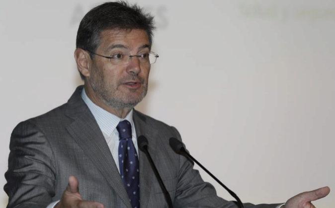 El ministro de Justicia, Rafael Catalá, hoy durante su intervención...