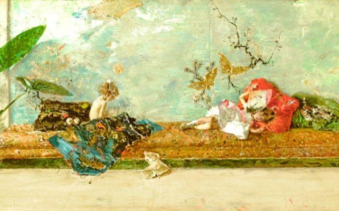 Los hijos del pintor en el jardín japonés (1874). Fortuny