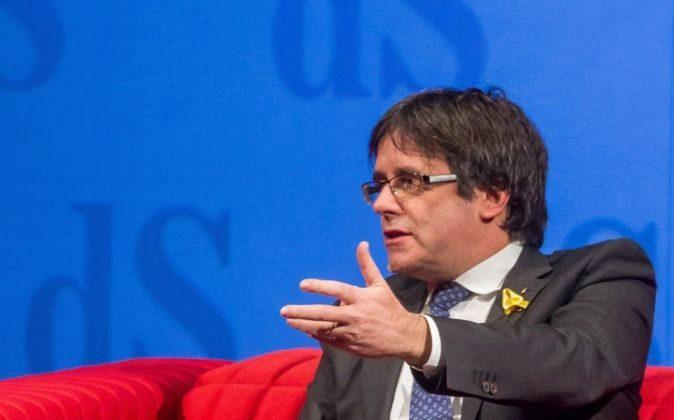 El expresidente Carles Puigdemont en su última aparición pública en...