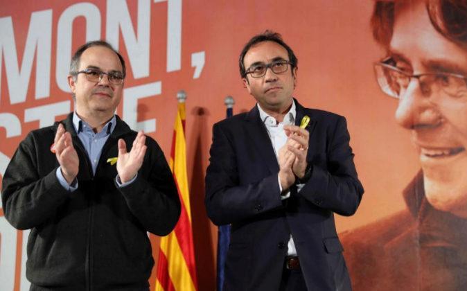 Los exconsellers y candidatos de JxSí Jordi Turull y Josep Rull, hoy...