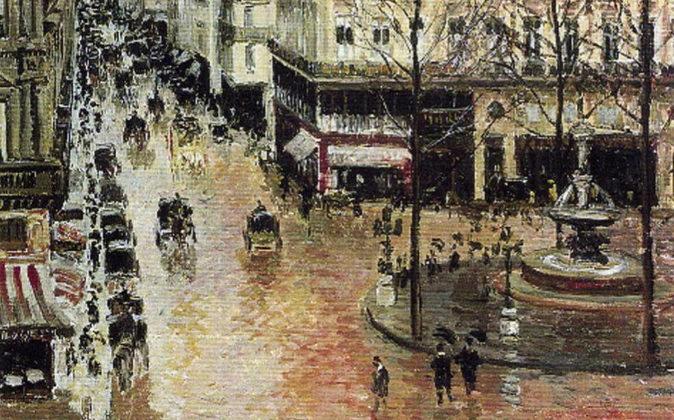 Un detalle del cuadro 'Rue de Saint Honoré aprés-midi. Effet de...