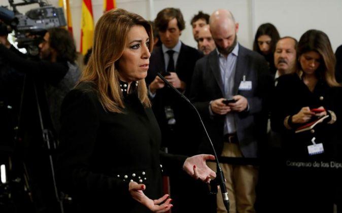 La presidenta de la Junta de Andalucía, Susana Díaz, durante las...