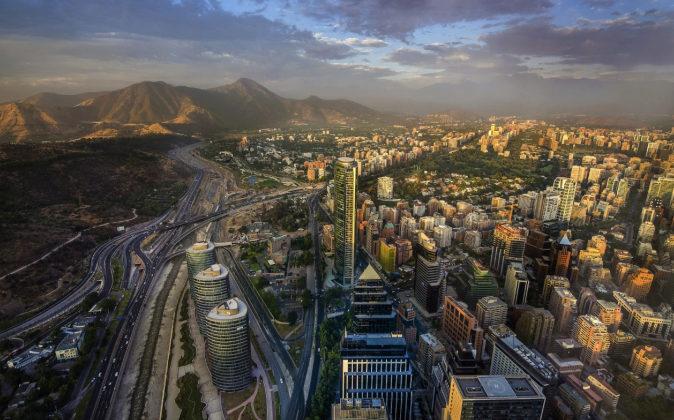 Vista aérea de Santiago de Chile, capital del país sudamericano.