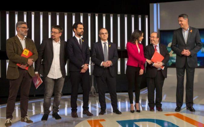 Los candidatos a la Generalitat de Cataluña de las formaciones Junts...