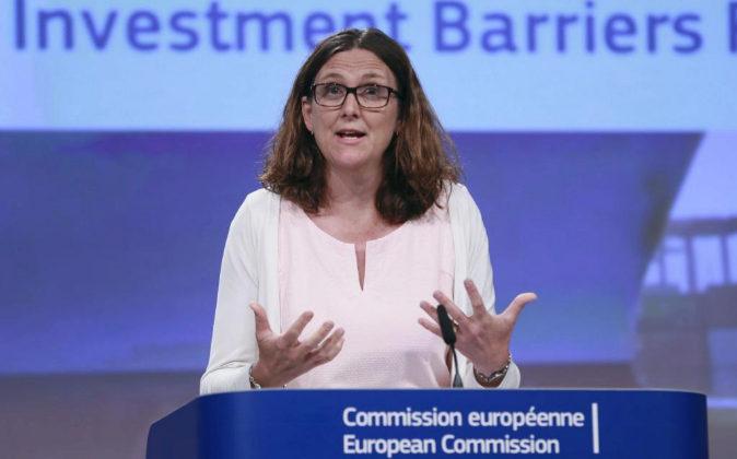 La comisaria europea de Comercio, Cecilia Malmström, en una imagen de...