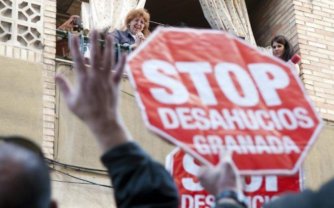 Manifestación en un desalojo.