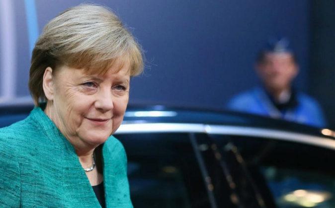 La canciller alemana, Angela Merkel, hoy a su llegada a la segunda...