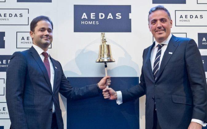 Toque de campana de Aedas Homes en la Bolsa de Madrid, con David...