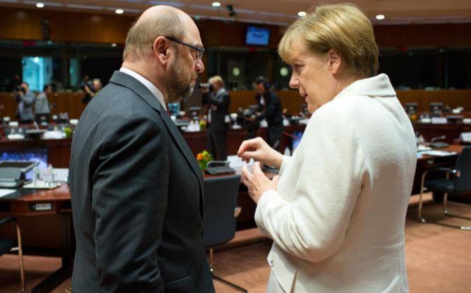 Martin Schulz y Angela Merkel, en una imagen de archivo.