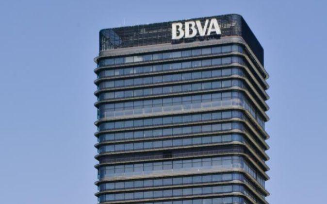 Rascacielo del BBVA en el Paseo de La Castellana en Madrid.