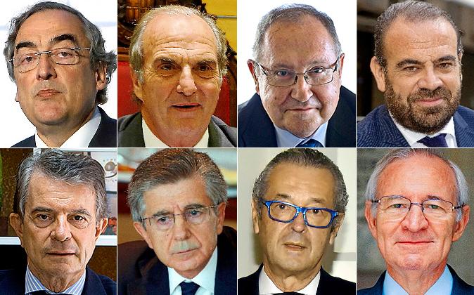 De izquierda  derecha y de arriba abajo: Juan Rosell, Joaquim Gay de...