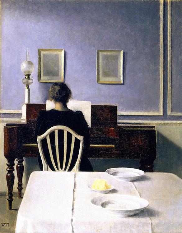 Hammershoi: Interior with woman at piano Strandgade 30.