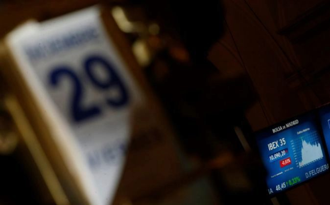 Imagen del interior de la Bolsa de Madrid en la última sesión de...