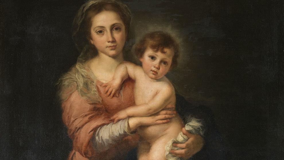 """""""La Virgen con el niño"""", óleo sobre lienzo, 157 x 107 cm,..."""