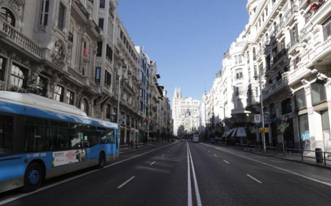 Vista de la Gran Vía desde la calle Alcalá (Madrid)