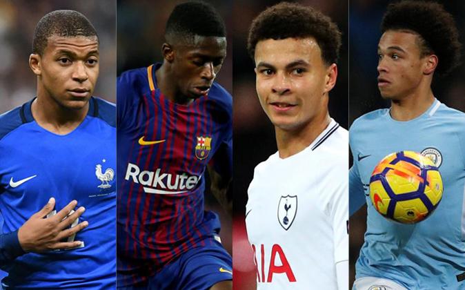 De izquierda a derecha: Kylian Mbappé, Ousmane Dembélé, Dele Alli y...
