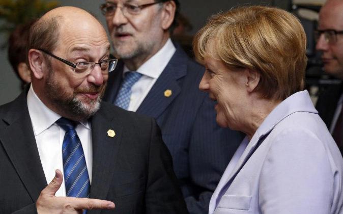 Martin Schulz y Angela Merkel.