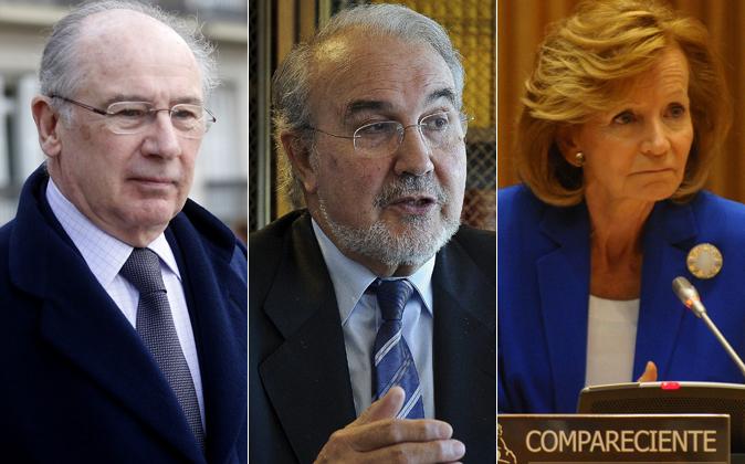 Rodrigo Rato, Pedro Solbes y Elena Salgado.