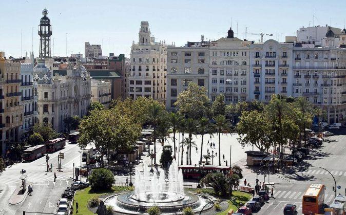 La plaza del Ayuntamiento de Valencia.