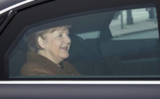 La líder de la Unión Cristianodemócrata (CDU), Angela Merkel, ayer...