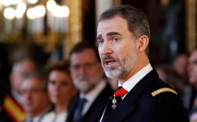 El Rey Felipe V, durante su discurso en la celebración hoy de la...