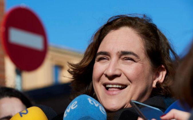 La alcaldesa de Barcelona, Ada Colau, ayer.