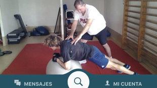 Imagen de la aplicación móvil, que busca os entrenadores personales...
