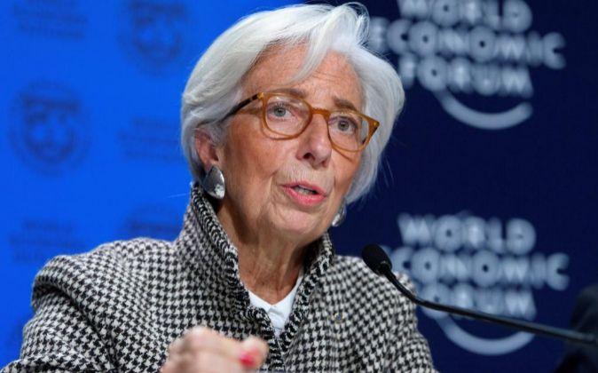 La directora gerente del FMI, Christine Lagarde, en una rueda de...
