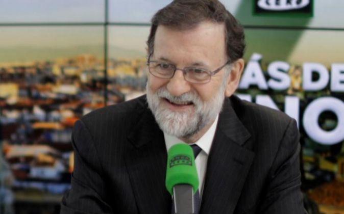 El presidente del Gobierno, Mariano Rajoy, durante la entrevista...