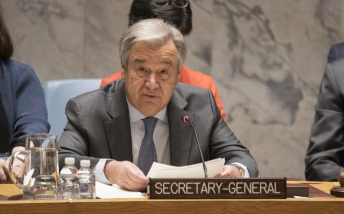 El secretario general de la ONU, António Guterres, mientras participa...