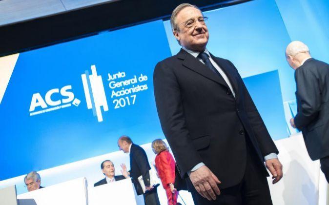 Florentino Pérez, el presidente de ACS, en la última Junta de...