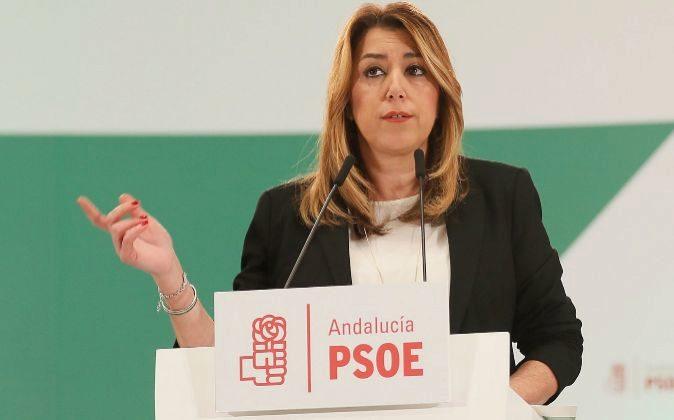 La secretaria general del PSOE de Andalucía y presidenta de la Junta,...