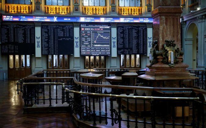 Vista de un panel de la Bolsa de Madrid.