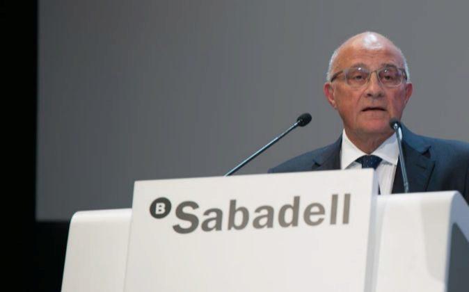 Josep Oliu en la junta de accionistas de Sabadell.