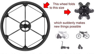 Esquema de plegado de la rueda Revolve, que una vez recogida puede...