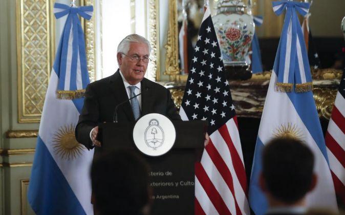 El secretario de Estado de Estados Unidos, Rex Tillerson, en Buenos...
