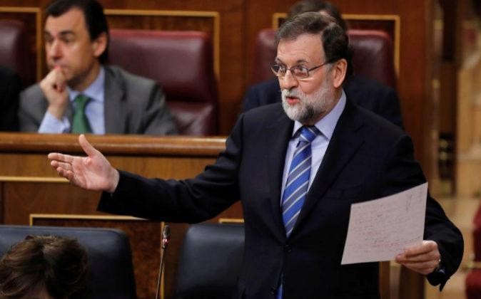 El jefe del Ejecutivo, Mariano Rajoy, hoy durante su intervención en...